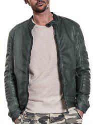 Raglan Sleeve Mandarin Collar Faux Leather Jacket - Vert XL