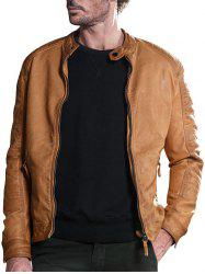 Raglan Sleeve Mandarin Collar Faux Leather Jacket - DEEP YELLOW M