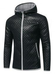 Rhombus Embossing Color Block PU Leather Jacket - GRAY 3XL
