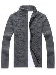Zip Up Cable Knit Cardigan - GRAY XL