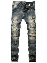 Faded Wash Slim Fit Ripped Jeans - Bleu 40