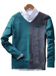 Faux Pocket V Neck Two Tone Sweater - RAL5001 Vert Bleu 3XL