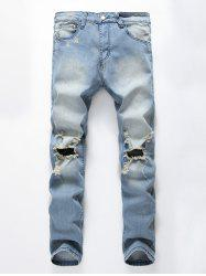 Faded Wash Heavy Distressed Skinny Jeans - Bleu 32