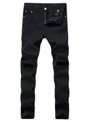 Faded Wash Heavy Distressed Skinny Jeans - BLACK 42