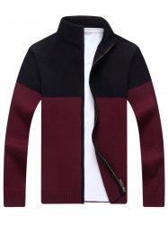 Ribbed Color Block Cardigan - WINE RED XL