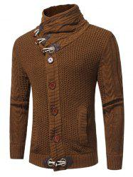 Horn Button Cowl Neck Single Breasted Cardigan - CAMEL XL