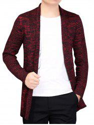 Knitted Open Front Cardigan - RED XL