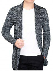 Knitted Open Front Cardigan - GRAY 3XL