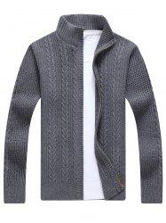 Full Zip Cable Knit Cardigan - GRAY 3XL