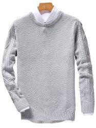Crew Neck Cable Knit Jumper - GRAY 3XL