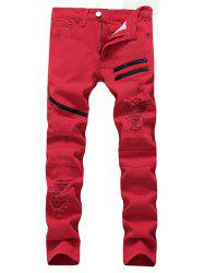 Zip Embellished Ripped Jeans - RED 32