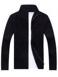 Zip Up Cable Knit Cardigan - BLACK 2XL