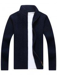 Full Zip Cable Knit Cardigan - BLUE XL