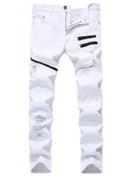 Zip Embellished Ripped Jeans - WHITE 36