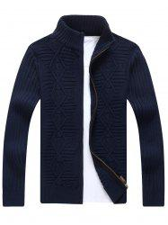 Zip Up Cable Knit Cardigan - CADETBLUE L
