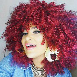 Medium Inclined Bang Fluffy Afro Curly Synthetic Wig -