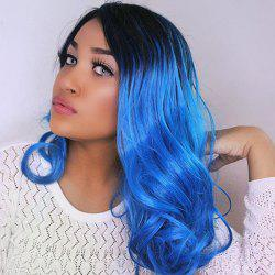 Medium Center Parting Curly Ombre Synthetic Wig - BLACK AND BLUE
