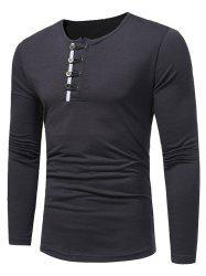 Long Sleeve Buttons Embellished T-shirt - DEEP GRAY M
