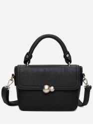 Faux Leather Stitching Tote Bag - BLACK