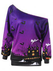 Plus Size Halloween Graphic Skew Neck Sweatshirt - PURPLE XL