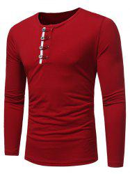 Long Sleeve Buttons Embellished T-shirt - RED 3XL