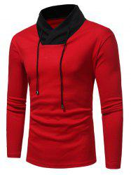 Color Block Shawl Collar Drawstring T-shirt - RED XL