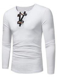 Long Sleeve PU Leather Horn Button T-shirt - WHITE M