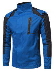 Color Block Hooded Technical Zip Up Jacket - BLUE L