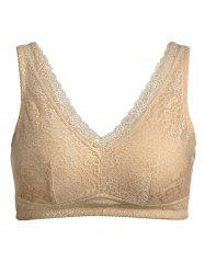 Plus Size Wirefree Padded Nonadjustable Lace Bra - COMPLEXION 3XL