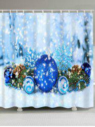Christmas Ball Waterproof Fabric Shower Curtain - ICE BLUE W71 INCH * L71 INCH
