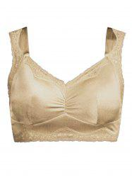 Plus Size Padded Wirefree Lace Trim Bra - COMPLEXION 3XL