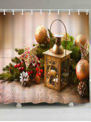 Christmas Candle Ball Waterproof Bath Curtain - LIGHT BROWN W59 INCH * L71 INCH