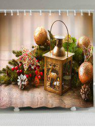 Christmas Candle Ball Waterproof Bath Curtain - LIGHT BROWN W71 INCH * L71 INCH