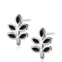 Tiny Leaf Sterling Silver Stud Earrings -