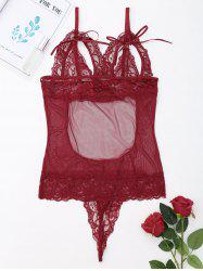 See Through Lace Slip Teddy - WINE RED XL