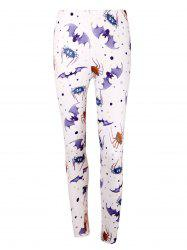 Bat Spider Print High Waist Halloween Leggings - LIGHT PURPLE 2XL