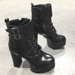Buckle Strap Platform High Heel Ankle Boots -