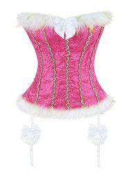 Corset Top with Faux Fur Trim - WATER RED M