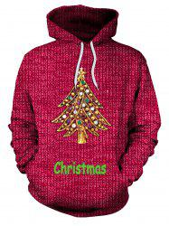 Christmas Tree Rhinestone Kangaroo Pocket Hoodie - RED M