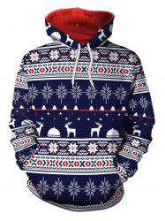 Sweat à capuche en flocon de neige de Noël Elk - Bleu 2XL