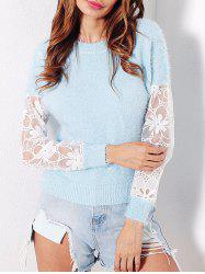 Mesh Panel Fuzzy Sweater - LIGHT BLUE ONE SIZE