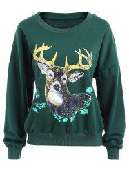 Elk Print Crew Neck Christmas Sweatshirt - GREEN XL