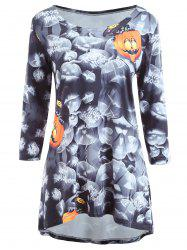 Halloween Pumpkin Print Long Sleeve Dress - COLORMIX S