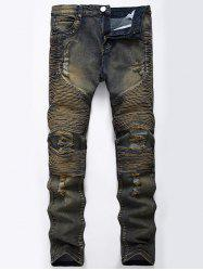 Straight Color Wash Ripped Moto Jeans - KHAKI GREY 40