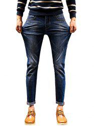 Zip Fly Stretch Cuffed Jeans - DENIM BLUE 34