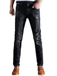 Metal Embellished Scratched Taper Fit Jeans - BLACK 32