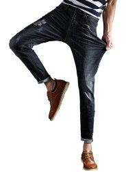 Slim Fit Zipper Fly Owl Embroidery Jeans - BLACK 36