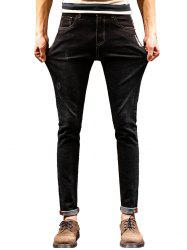 Graphic Print Zip Fly Tapered Jeans - BLACK 36