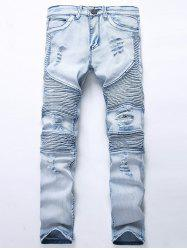 Straight Color Wash Ripped Moto Jeans - LIGHT BLUE 32