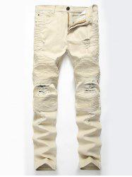 Straight Color Wash Ripped Moto Jeans - Kaki Clair 34